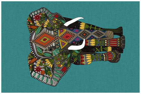 floral elephant teal tea towel fabric by scrummy on Spoonflower - custom fabric