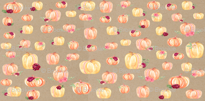 Small Scale Floral Pumpkins Kraft