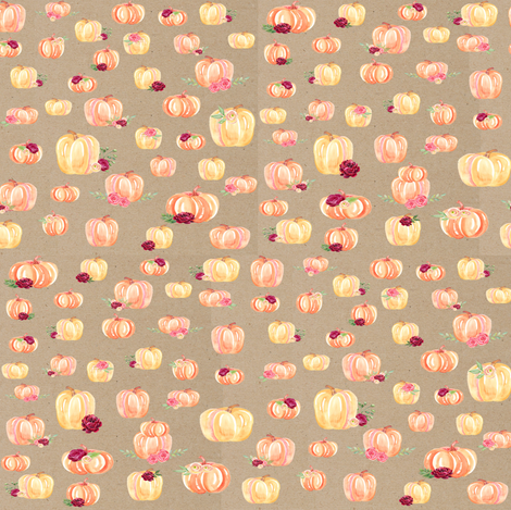 Small Scale Floral Pumpkins Kraft fabric by brookiesdesigns on Spoonflower - custom fabric