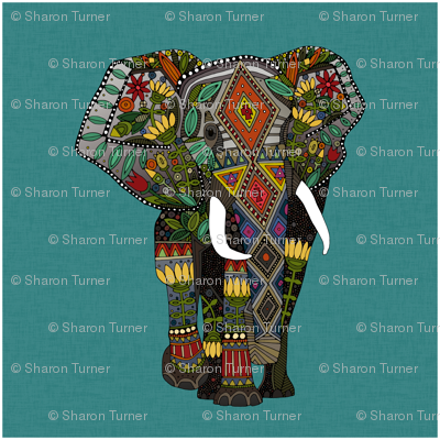 floral elephant teal 18 inch panel