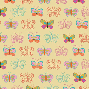 Butterflies on a cream background