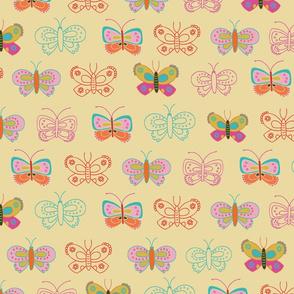 Butterflies on a cream background