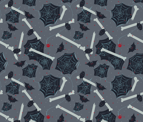 Bats and Cobwebs fabric by jezlisquaredarts on Spoonflower - custom fabric