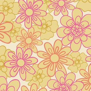 Doodle flowers on a cream background