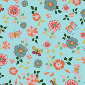 Flowers and butterflies on a blue background