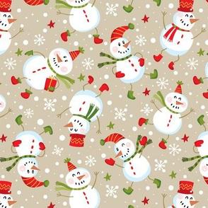 Festive Snowmen Scatter-Tan