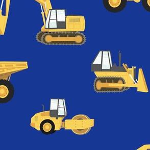 (large) construction trucks - yellow on royal C18BS