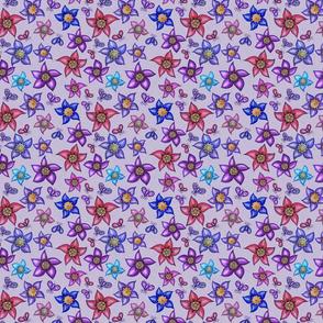 Heartful Flowers on Purple