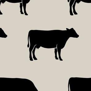 (large scale) cows (black on beige) - farm fabric