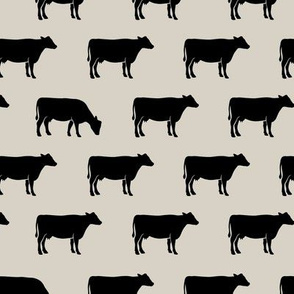 cows (black on beige) - farm fabric