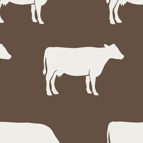 (large scale) cows (cream on brown) - farm fabric