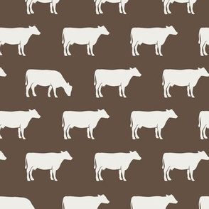 cows (cream on brown) - farm fabric