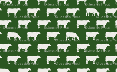 (large scale) cows (cream on green) - farm fabric