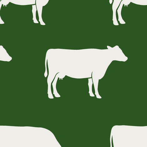 (large scale) cows (cream on green) - farm fabric fabric by littlearrowdesign on Spoonflower - custom fabric