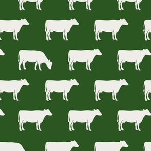 cows (cream on green) - farm fabric