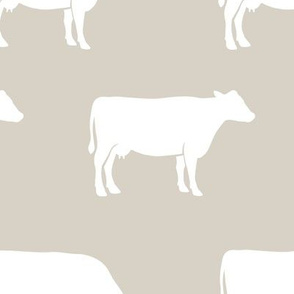 (large scale) cows on beige - farm fabric