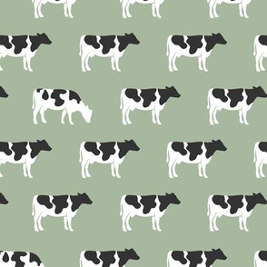 cows on sage - farm fabric
