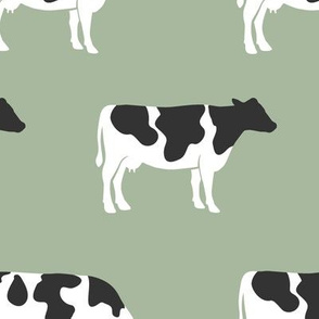 (large scale)  cows on sage - farm fabric