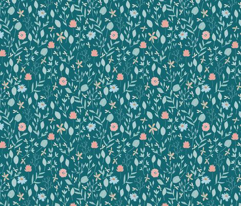 Fun Botanicals on Teal fabric by inezjestine on Spoonflower - custom fabric