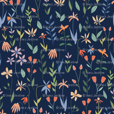 Pretty Botanicals on Navy