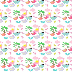 dino friends 615- tropical dreams-pink