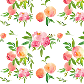 Watercolor peaches and peonies
