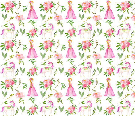watercolor princess  fabric by attic_15127 on Spoonflower - custom fabric