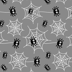 spiders and webs on grey » halloween rotated
