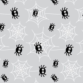 spiders and webs on light grey » halloween rotated