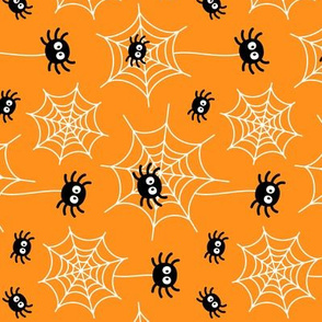 spiders and webs on orange » halloween rotated