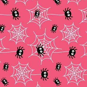 spiders and webs on pink » halloween rotated