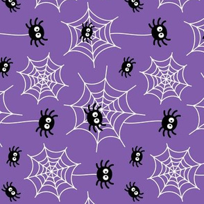 spiders and webs on purple » halloween rotated
