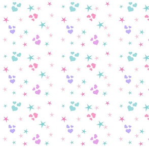 hearts and stars MED7 - mint pink purple