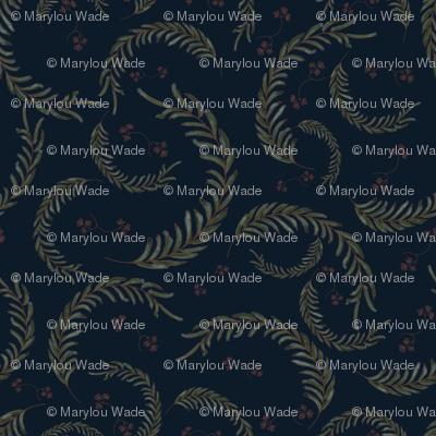 Wildflower Leaves-Navy