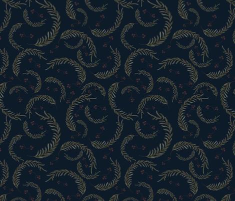 Wildflower Leaves-Navy fabric by mlwade on Spoonflower - custom fabric