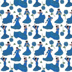 flamenco dancers blue on white 8x8