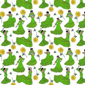 flamenco dancers green on white 8x8