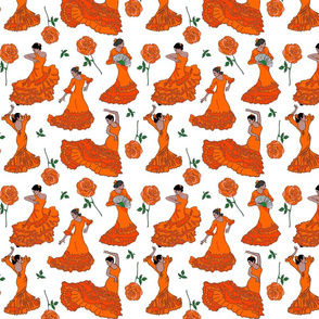 flamenco dancers orange on white 8x8