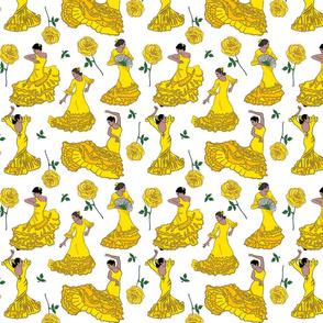 flamenco dancers yellow on white 8x8
