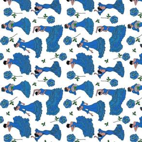flamenco dancers blue tea towel