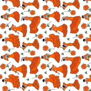 flamenco dancers orange tea towel