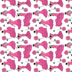 flamenco dancers pink tea towel