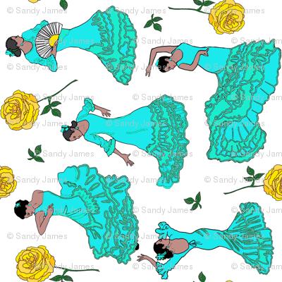 flamenco dancers turqouise tea towel