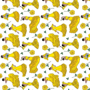 flamenco dancers yellow tea towel
