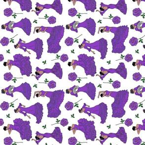 flamenco dancers purple tea towel