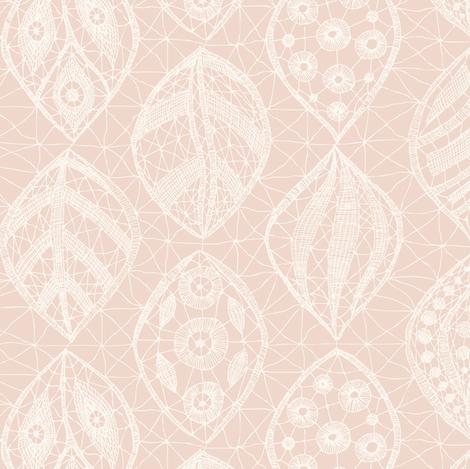 Lace Leaves - H White, Dark Shell fabric by fernlesliestudio on Spoonflower - custom fabric