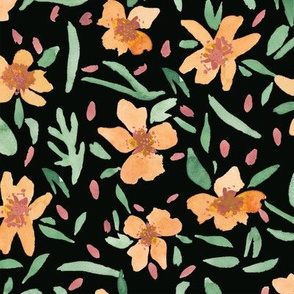 Loose Painted Florals in Orange