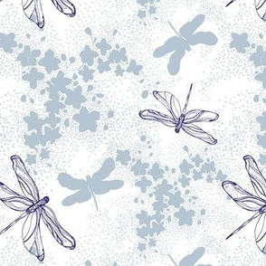 Dragon fly with blossoms white