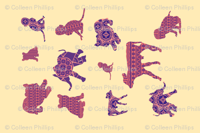illustrated animals tea towel
