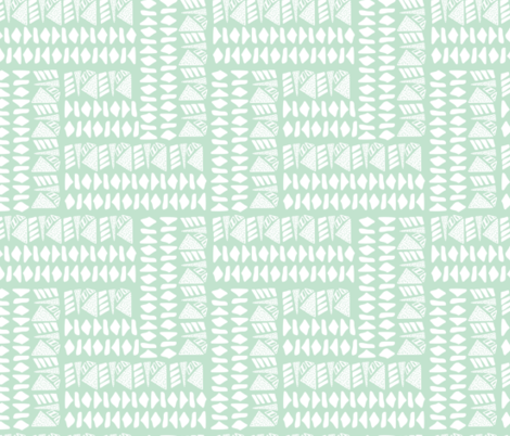 White textured geometric shapes on mint base fabric by patternanddesign on Spoonflower - custom fabric